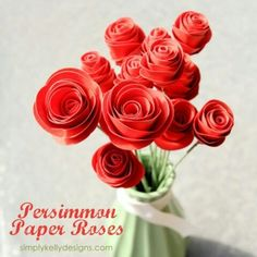 51 diy paper flower tutorials how to make paper flowers paper persimmon paper roses by simply kelly designs mightylinksfo