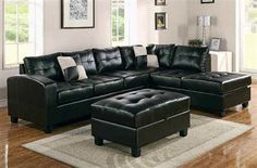 Kiva Collection Espresso Bonded Leather LAF Sectional Sofa w/2 Pillows