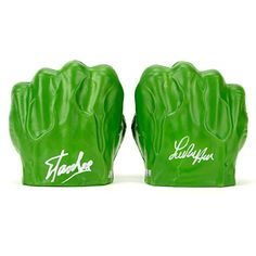 Stan Lee and Lou Ferrigno Autographed Incredible Hulk Fists Set @ niftywarehouse.com #NiftyWarehouse #Geek #Fun #Entertainment #Products