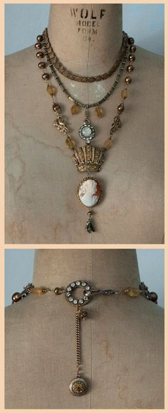 The Queen of Golden / Original One of a Kind Art 3 Strand Layered Vintage Assemblage Necklace