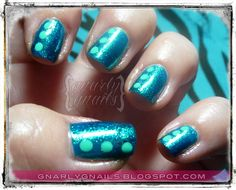 Teal Tuesdays - Dotticure.  http://gnarlygnails.blogspot.com/