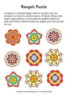 Rangoli puzzle - match the rangoli designs