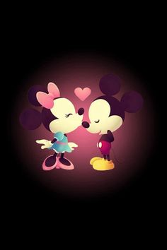 Minnie gives Mickey a kiss cutest wallpaper ever!!!!!