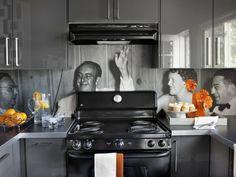 retro Küche Fotos bedrücken Glas Küchenrückwand