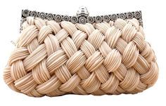 Chicastic Pleated and Braided Rhinestone studded Wedding Evening Bridal Bridesmaid Clutch Purse - Beige: from Amazon.com: