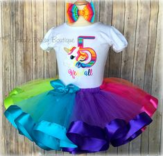 Bright Rainbow Tutu Outfit Paint Party Birthday Paint Palette with Paint Brush Birthday Ribbon Trim Tutu Outfit Art Party Tutu Outfit