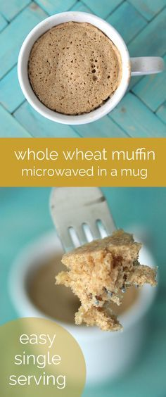 how to make a single serving whole wheat muffin in the microwave - fast, easy & healthy recipe! great easy breakfast for back to school.