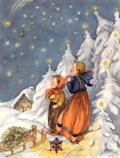 Vintage Christmas Card by Margret Savelsberg ~ Orange Accents Vintage Christmas Images, Old Christmas, Retro Christmas, Christmas Pictures, Christmas Greetings, Illustration Noel, Winter Illustration, Christmas Illustration, Illustrations