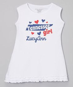 White 'Tennessee' Personalized Dress - Infant, Toddler & Girls