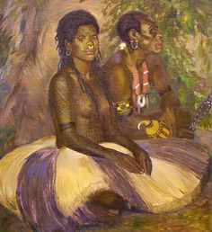 'Sarli and wife'. 1926 oil on canvas painting by Caroline Mytinger. This beautiful portrait of the couple, depicts the intricate full body tattooing on a young woman from Papua New Guinea. #PapuaNewGuinea #painting