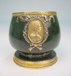 Faberge Jade cup with gilt silver mountings, including a medallion or cameo - marked on bottom with Faberge 88 H.W. (Henrik Wigstrom) early 20th C