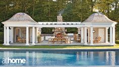 Beautiful pool house with outdoor fireplace and kitchen via at home Magazine His and hers sleeping rooms