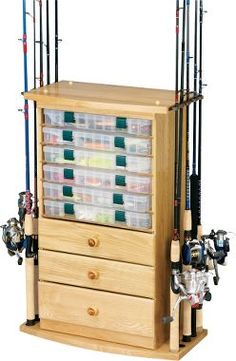 10-Rod/3-Drawer Rack with Utility Storage : Cabela's |  This, but real oak instead of veneer...