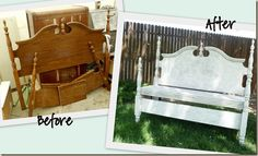 Headboard/footboard upcycle to a bench - can't wait to do this with my garage sale find!