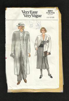 Vintage 1985 Vogue 9201 Cardigan Style Coat by ThimbledFingerTips