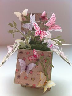 Pop up Box Card with flying butterflies, I used hearts for valentines, but love this for spring.