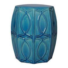 Treillage turquoise garden stool. Good idea for an end table.