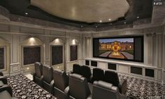 Home Theater in black and white - perfect for film noir - pic 2 of 2 Theater Room Decor, Home Theater Setup, Home Theater Speakers, Home Theater Seating, Home Theater Design, Home Theater Projectors, Home Cinema Room, Home Theater Rooms, Small Home Theaters