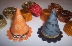 Witches hats - Reese's PB cups, scallop circle and half circle of designer paper.  Cute!