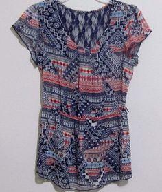 No Boundaries top blouse women's size M (7-9) semi sheer with lace blue L18 #NoBoundaries #Blouse #Careercasual