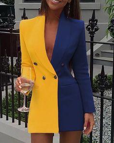 Colorblock Patchwork Blazer Dress Women Doubled Breasted Office Dress Elegant Notched Collar Short Blazer Dresses Workwear, Blue / S Classy Outfits, Chic Outfits, Dress Outfits, Blazer And Shorts, Blazer Dress, Shirt Skirt, Collar Dress, Tee Shirt, Suit Fashion