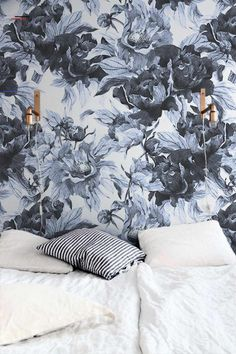 Blue peonies temporary wallpaper, Watercolor temporary wallpaper, Floral wall decal, Floral wallpaper for nursery, Dark floral wallpaper - #bluepeonies - Blue peonies temporary wallpaper from Wallflora is designed to give an entirely new look to the walls of your room. These are easily removable wallpapers which can be easily attached to the walls without applying any extra glue. Just peel off the back portion of the wallpapers, apply them to the walls and see your home transform! ►… Nursery Wallpaper, Wallpaper Size, Vinyl Wallpaper, Colorful Wallpaper, Peel And Stick Wallpaper, Mural Floral, Floral Wall, Wallpaper Application, Wall Murals