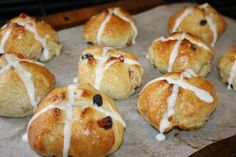 Hot Cross Buns. Not buns more like sweet biscuits but super moist and super yum! I soaked the raisins in hot water before. Update- My little sister asks for them almost every week since.