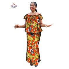 Ankara Skirt and O neck Blouse traditional Clothes plus size Dress – Owame