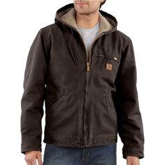 Carhartt Men's Sierra Sherpa Lined Cotton Sandstone Duck Jacket