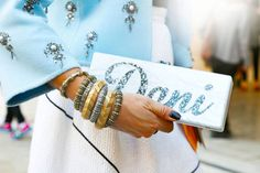 nameplate clutches... all the it girls are doing it.