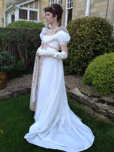 ball gown worn for the 2012 Jane Austen Festival Ball in Bath, England held at the Pump Rooms in the Roman Bath.