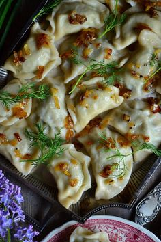 KRASNOSTAWSKIE PIEROGI Z KOPERKIEM Mexican Food Recipes, Italian Recipes, Falafel, Georgian Food, Eastern European Recipes, Australian Food, Caribbean Recipes, Dumplings, Chicken Recipes