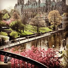 Rideau Canal and Parliament Hill in downtown Ottawa