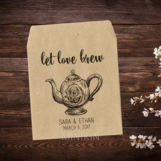 High Tea Let Love Brew Tea Packet Favors Tea Party by MinikinGifts
