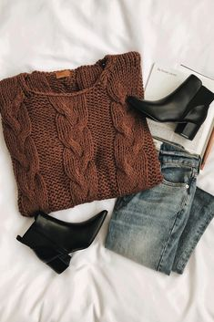 Walk in the Park Brown Oversized Cable Knit Sweater - Herren- und Damenmode - Kleidung Mode Outfits, Casual Outfits, Fashion Outfits, Womens Fashion, Fashion Clothes, Fashion Trends, Fashion 2016, Petite Fashion, Curvy Fashion