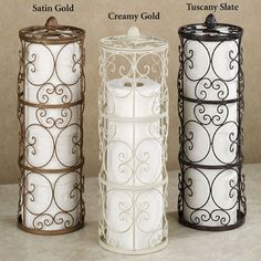 Pretty toilet paper storage for the bathroom that looks nice and polished.
