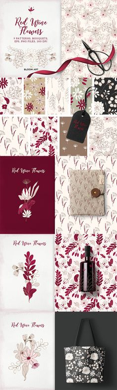 9 patterns and bouquets in red colors - hand painted seamless patterns