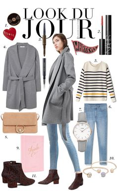 Look Du Jour: Bo wie? White striped sweater+light denim+animal printed ankle boots+grez coat+nude shoulder bag+jewelry. Fall Outfit 2016