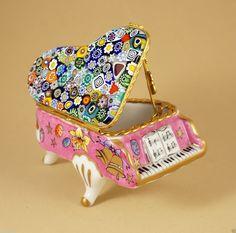 NEW FRENCH LIMOGES BOX GRAND PIANO MURANO MILLEFIORI VENITIAN & ART GLASS TOP