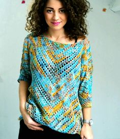 """Crochet Blouse """"Starry Night"""" Blouse - """"Starry Night"""" Blouse ByKaterina - ByKaterina Crochet patterns Perfect for beginners. if you made a triangle scarf before you have to try this. Blouse Au Crochet, Crochet Cardigan Pattern, Crochet Jacket, Crochet Blouse, Mode Crochet, Easy Crochet, Knit Crochet, Crochet Sweaters, Crochet Birds"""