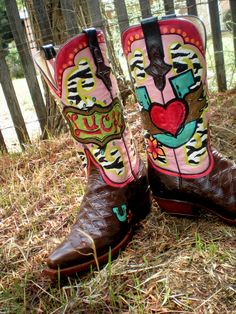Custom Painted Cowboy Boots by Hopscotch Dandelions https://www.facebook.com/HopscotchDandelions