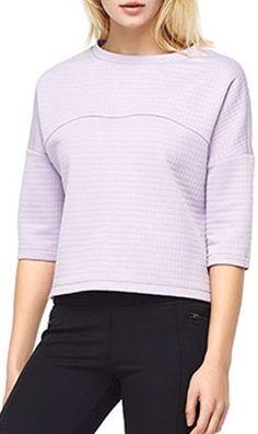 Light PurpleTextured Round Neck 3/4 Sleeve Blouse