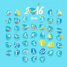 Rio olympic sports set Free Vector