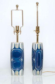 Pair of Danish Mid Century Modern Porcelain Lamps Designed by Inge-Lise Koefoed image 4