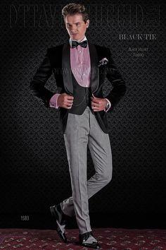 Black tuxedo velvet jacket with black pants #bespoke #madeinitaly #weddingsuit #groomsuit #weddingtuxedo #groom #weddings #brideandgroom
