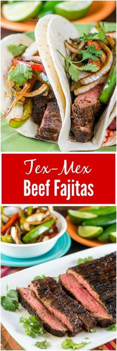 This Tex-Mex Beef Fajitas recipe, with skirt steak or flank steak, and served with sauteed onions, red and green peppers, makes an easy dinner. via @flavormosaic