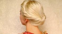 Wedding hairstyles for medium long hair tutorial Prom updo Gibson tuck roll for shoulder length, via YouTube.