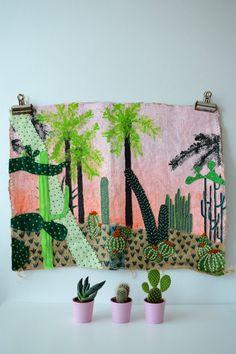 Main peint et brodé de Tenture murale Jungle par HomeByBear sur Etsy