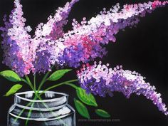 Easy Lilacs in a Mason Jar step by step painting on canvas for beginners by The Art Sherpa www.theartsherpa.com