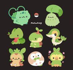 Probably expecting me to say Chikorita but its actually Bulbasaur haha, I do love Johto tho by: mahoukarp Cute Animal Drawings Kawaii, Kawaii Art, Kawaii Drawings, Cute Drawings, All Pokemon, Pokemon Fan Art, Cute Pokemon, Pokemon Starters, Creature Drawings